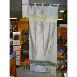 Taffeta curtains with double brocade - grey
